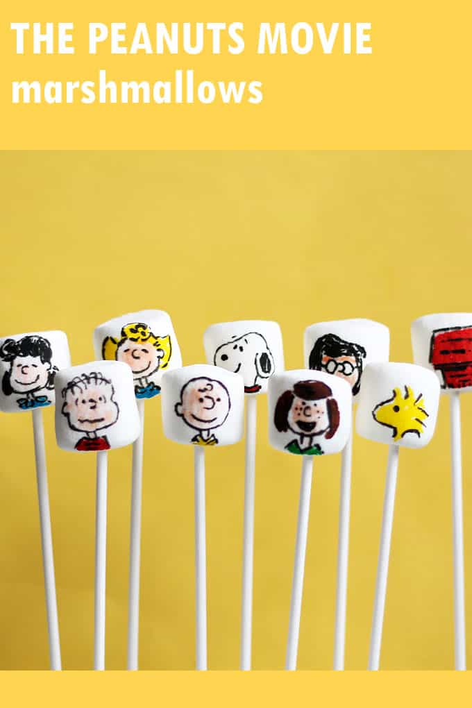 Peanuts movie marshmallows -- fun food idea with Snoopy, Charlie Brown and all the Peanuts characters. Use food coloring pens.