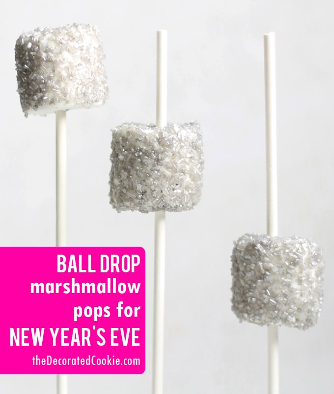 ball drop marshmallow pops for New Year's Eve