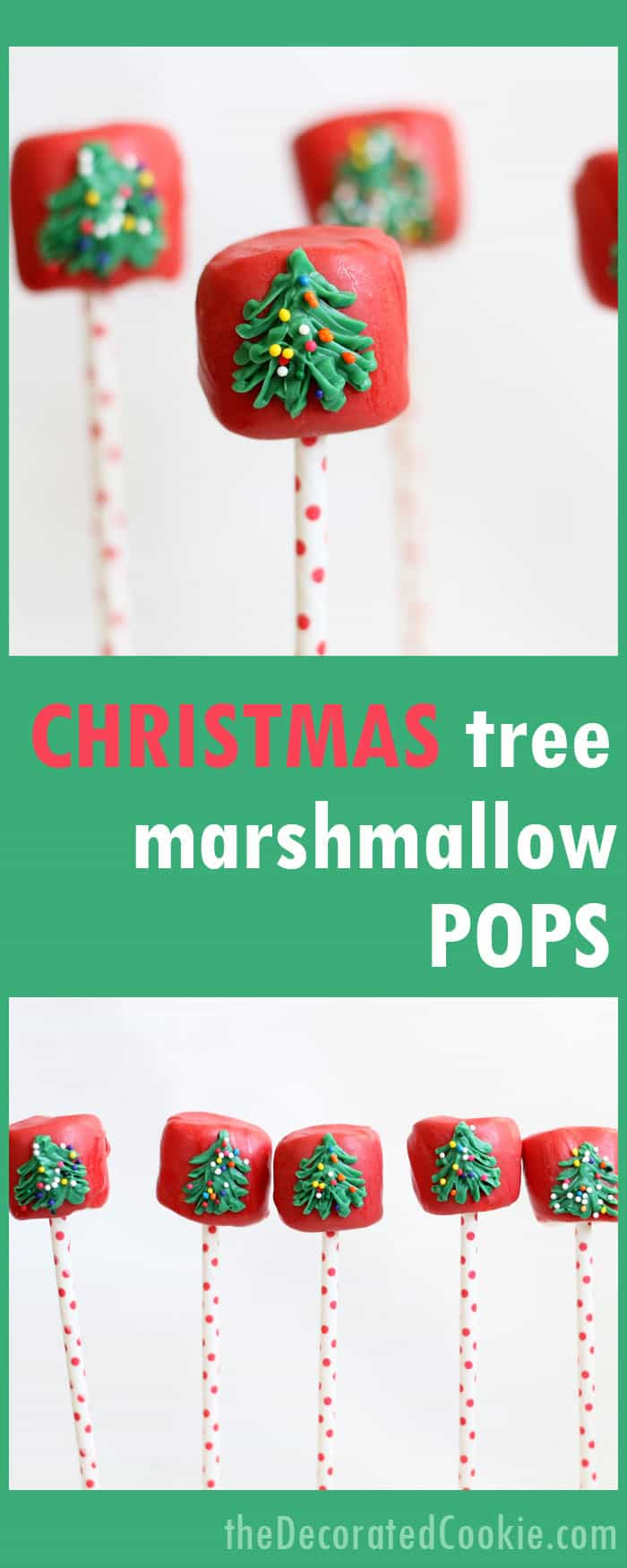 Christmas tree marshmallow pops, easy fun food for Christmas