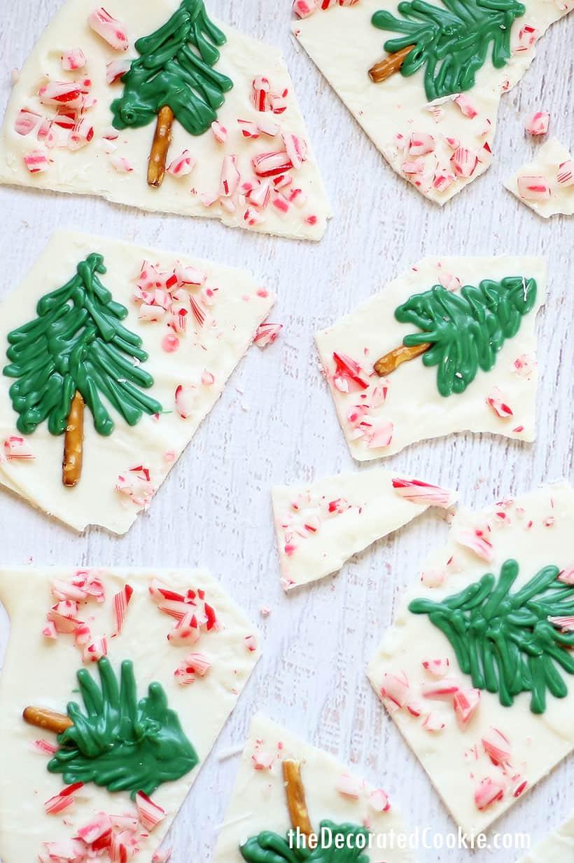 Christmas tree peppermint white chocolate bark
