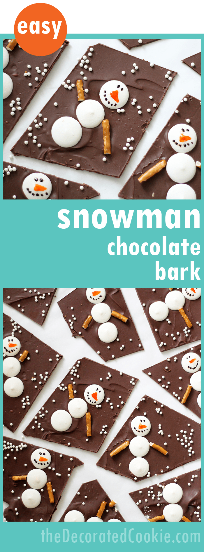 Easy snowman chocolate bark, a great homemade holiday food gift idea. Fun Christmas treats.