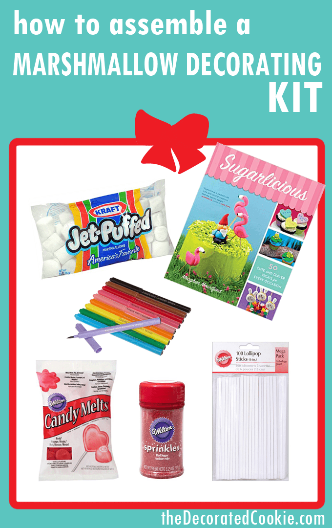 Holiday gift guide: Assemble acookie decorating kit, cupcake decorating kit, or marshmallow decorating kit. Great gift for kids or grown-ups who love to bake and create fun food.
