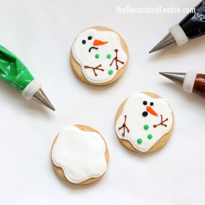 "simple melting snowman cookies (from the creator of the ORIGINAL), or ""snowman puddle cookies"""