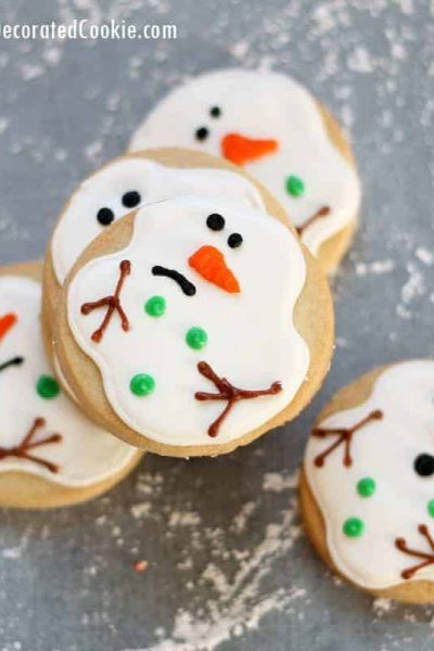 How to make and decorate easy melting snowman cookies, from the creator of the original melting snowman cookie, a now-traditional Christmas cookie.  #MeltedSnowmanCookies