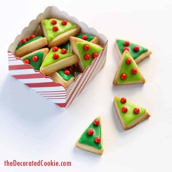 mini modern Christmas tree cookies
