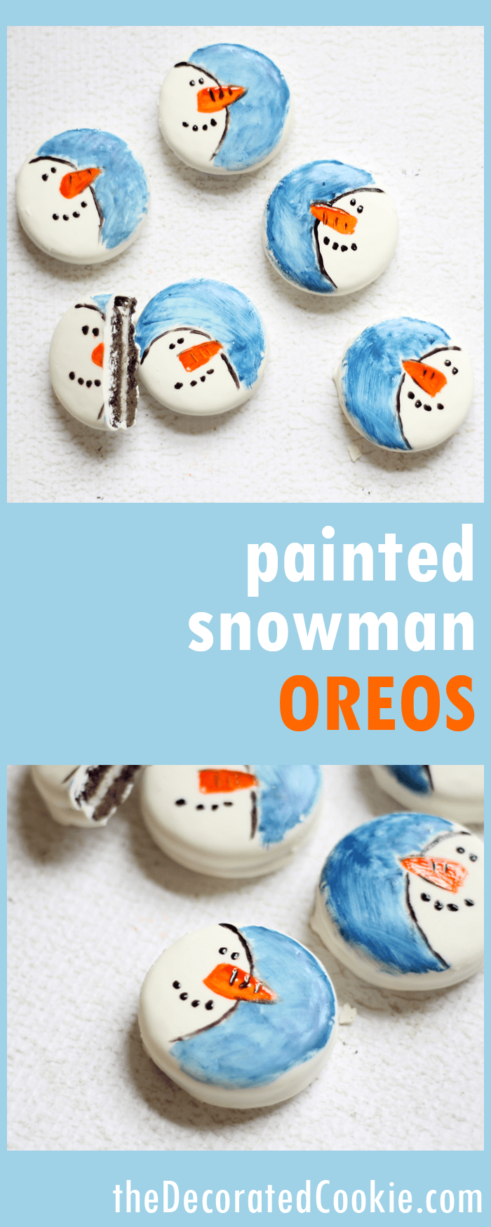 painted snowman Oreos -- cute winter or Christmas holiday treats using candy color and store-bought cookies