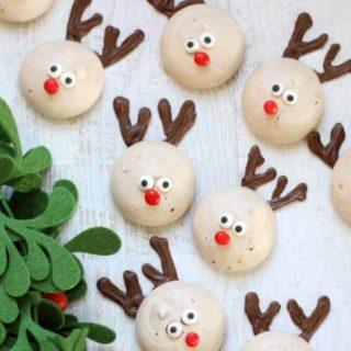 reindeer peppermint chocolate meringue cookies for Christmas