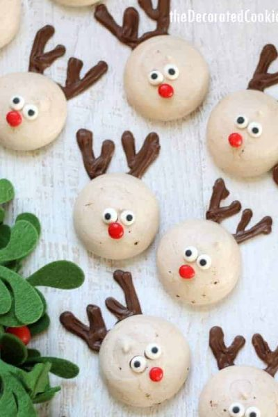 reindeer peppermint chocolate meringue cookies for Christmas
