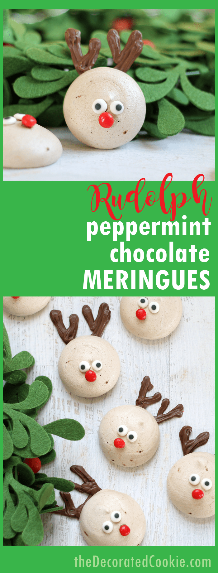 Rudolph cookies: Reindeer peppermint chocolate meringues, fun and easy Christmas cookies.