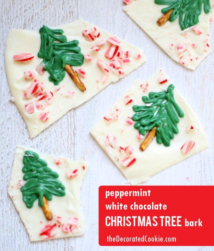 peppermint white chocolate Christmas tree bark