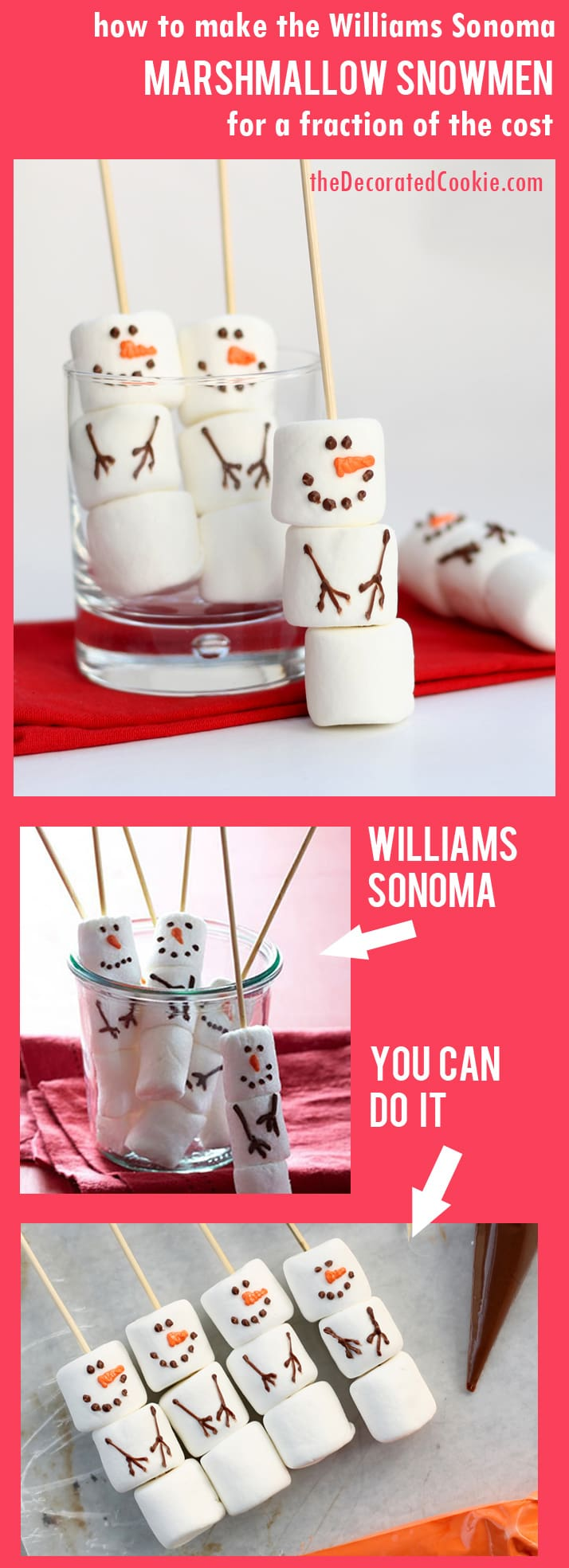 DIY marshmallow snowman stirrers from the Williams-Sonoma catalog -- a copycat version of the store-bought Christmas treat, but budget-friendly.