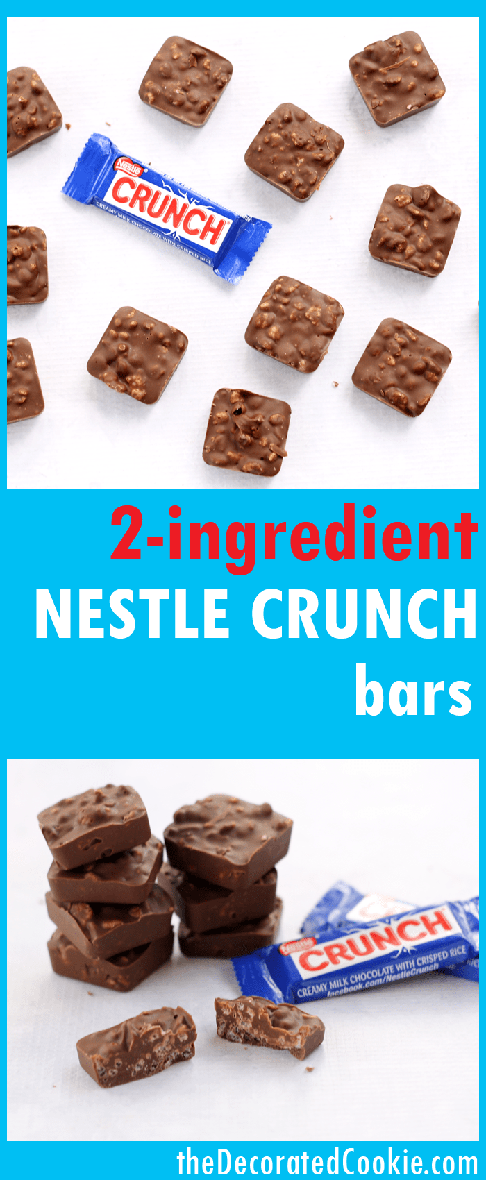 homemade Nestle Crunch bars -- copycat -- 2-ingredient