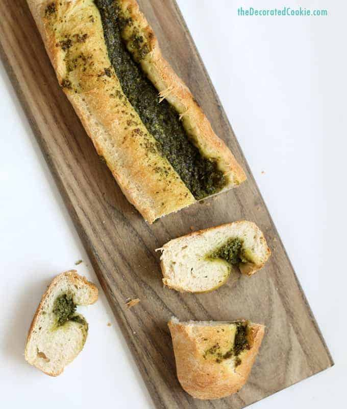 two-ingredient pesto bread from the decorated cookie