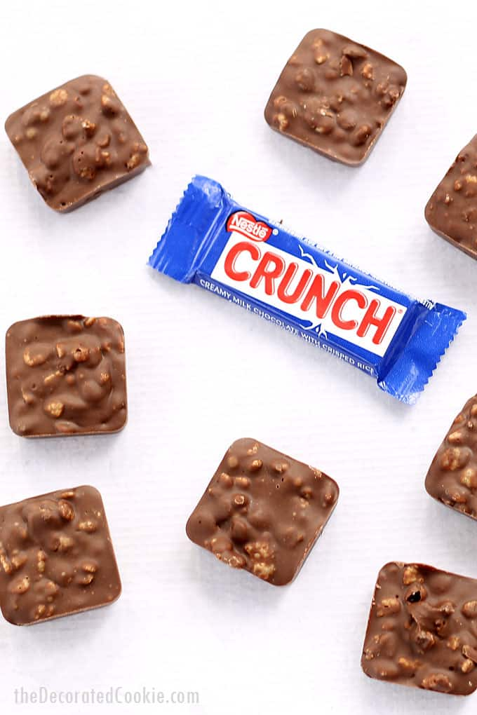 copycat recipe: HOMEMADE NESTLE CRUNCH CANDY BAR. 2-ingredients, easy, delicious chocolate with crispy cereal.