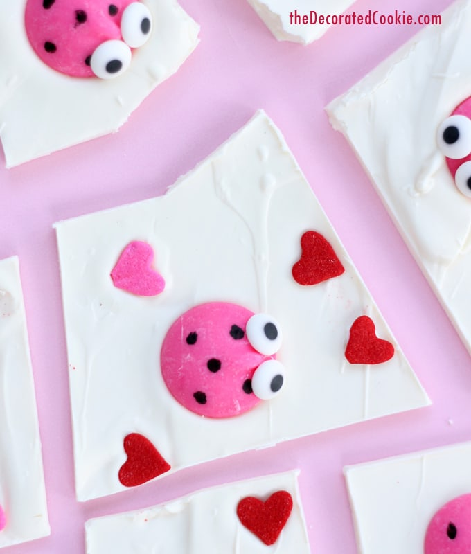 love bug chocolate bark for Valentine's Day