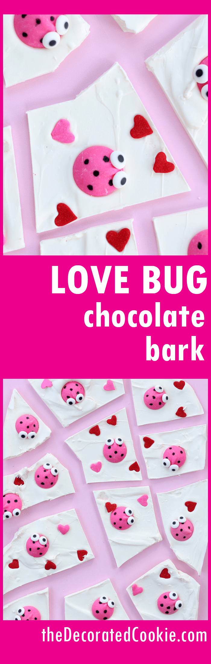 love bug chocolate bark for an easy Valentine's Day treat