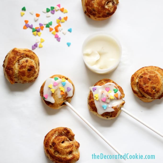 mini cinnamon roll pops for Valentine's Day