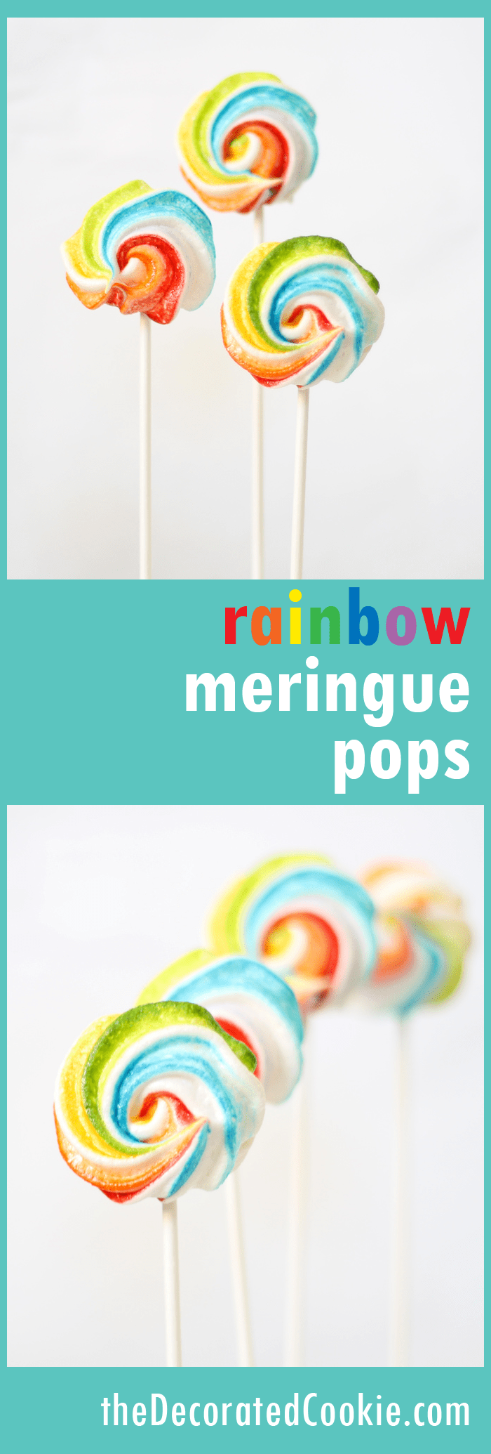 rainbow meringue cookie pops