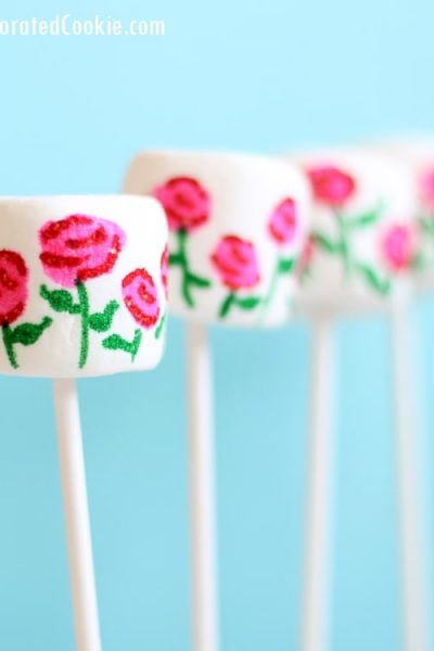 EASY rose garden marshmallows for Valentine's Day