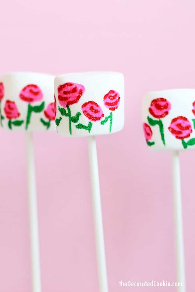 How to use food coloring pens and marshmallows with lollipop sticks to make EASY rose garden marshmallows for Valentine's Day.