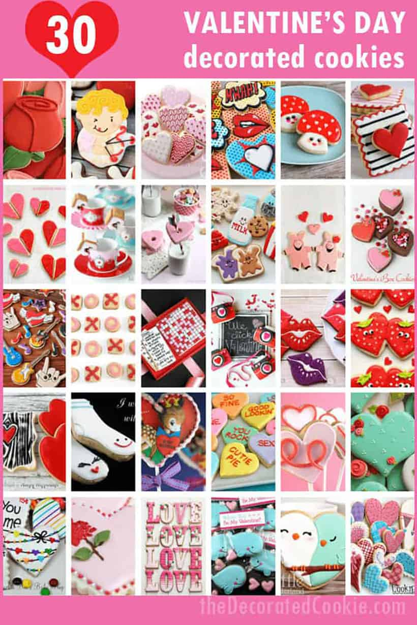 collage of Valentine's Day decorated cookies