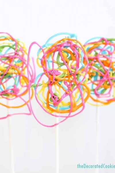 easy crazy rainbow lollipops