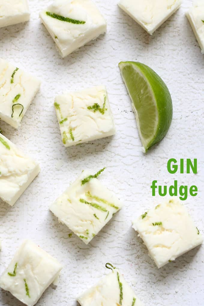 3-ingredient, amazing, GIN BOOZY FUDGE. White chocolate, lots of gin, and a lime zest topping. A delicious, grown-up dessert recipe.