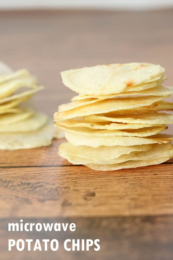 These HOMEMADE POTATO CHIPS are crispy, salty, and perfect, and they are made in the microwave! Lay's potato chip copycat recipe.