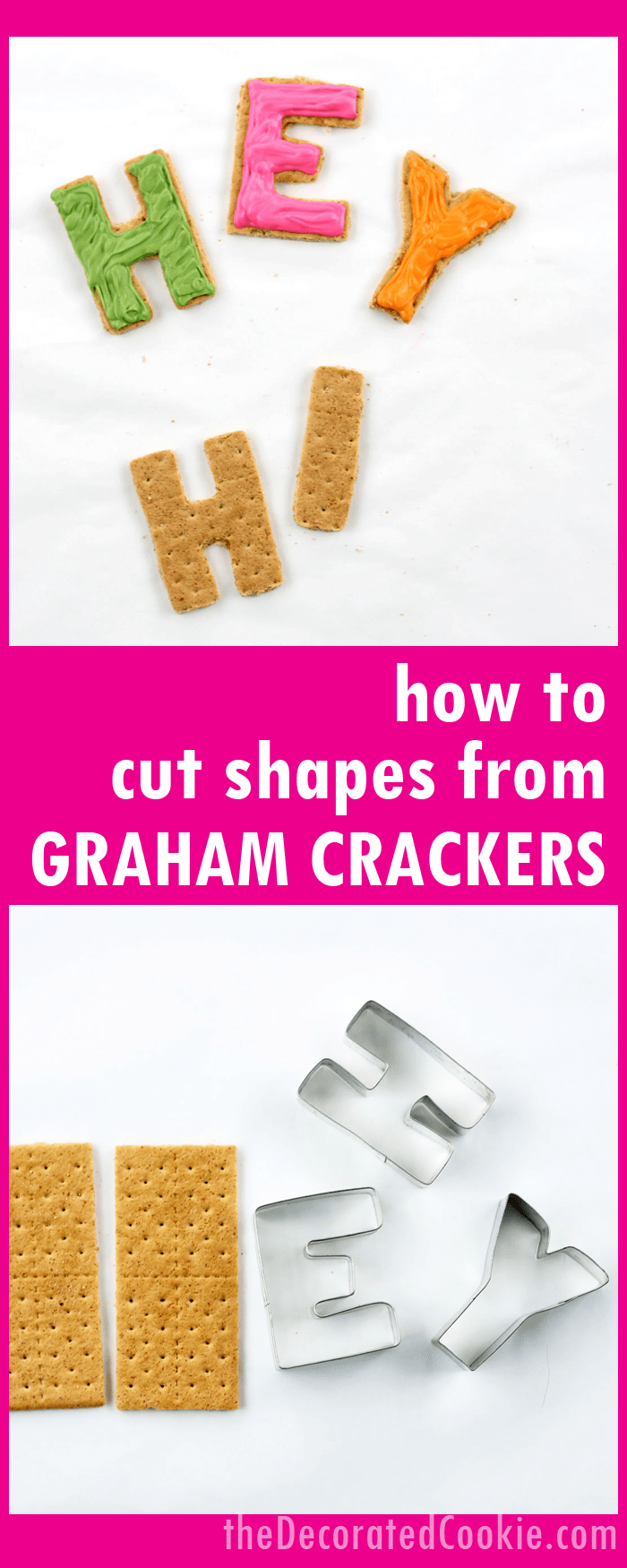 how to cut shapes from graham crackers with cookie cutters for easy, kid-friendly cookie decorating