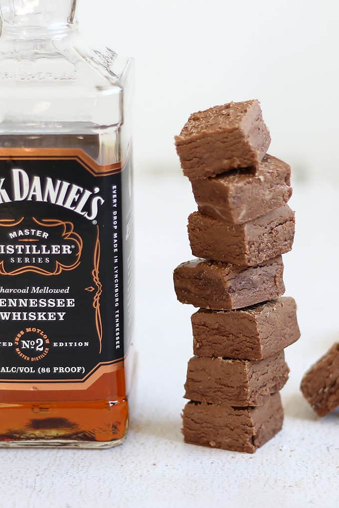 Jack Daniels fudge, a delicious, strong, easy-to-make, 3-ingredient boozy fudge for grown-ups only! Chocolate and whiskey combined.