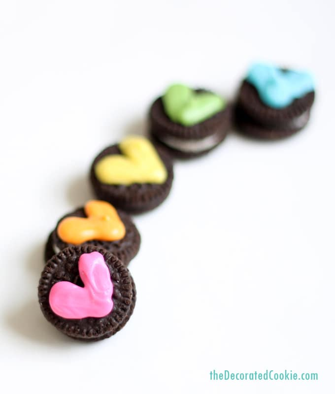 mini Oreo rainbow heart cookies for Valentine's Day