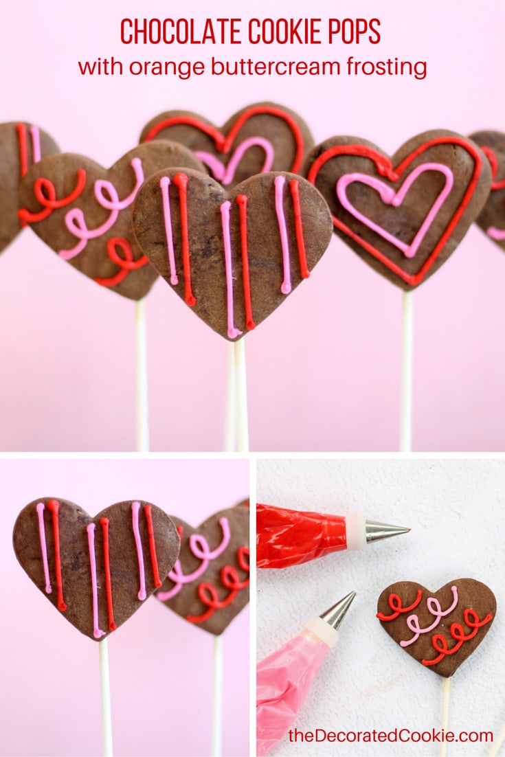 chocolate heart cookie pops with orange buttercream frosting for Valentine's Day