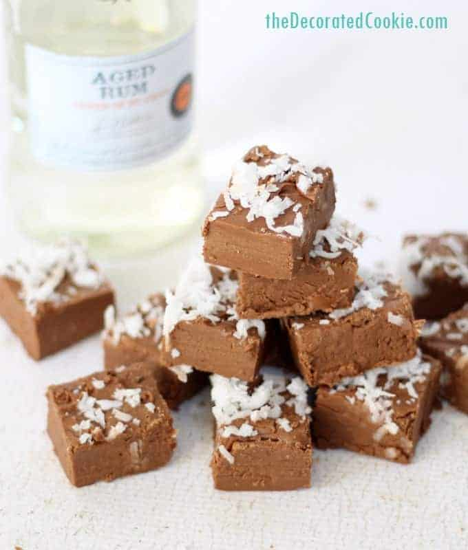 Boozy fudge: chocolate rum with coconut