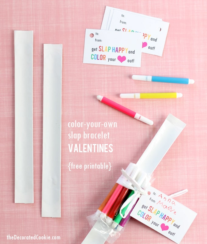 color-your-own slap bracelet Valentine's Day cards for kids' class parties, with FREE printable