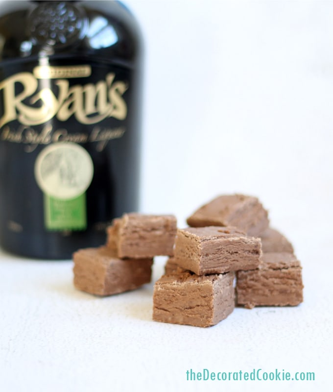 boozy fudge: 3-ingredient Baileys Irish Cream fudge shots for St. Patrick's Day