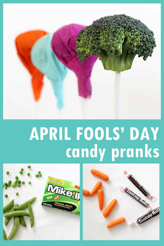 Try these April Fools' Day candy jokes with hidden vegetables. Lollipops are broccoli, Mike and Ike's are hidden peas, Tootsie Rolls are carrots. Video.