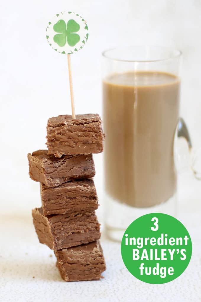 Three ingredient Bailey's Irish cream boozy fudge. Perfect for St. Patrick's Day. For grown-ups only. Delicious, easy, STRONG fudge recipe.