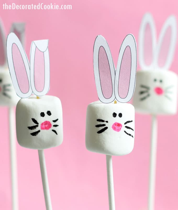 easy Easter bunny marshmallow pops with FREE printable
