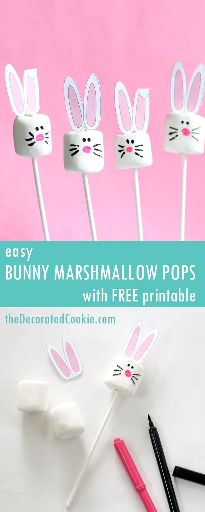 easy easter bunny marshmallows with free printable the decorated
