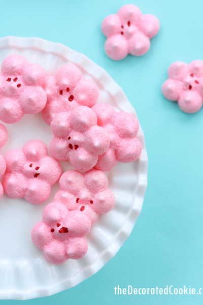 spring cookies: cherry blossom meringues