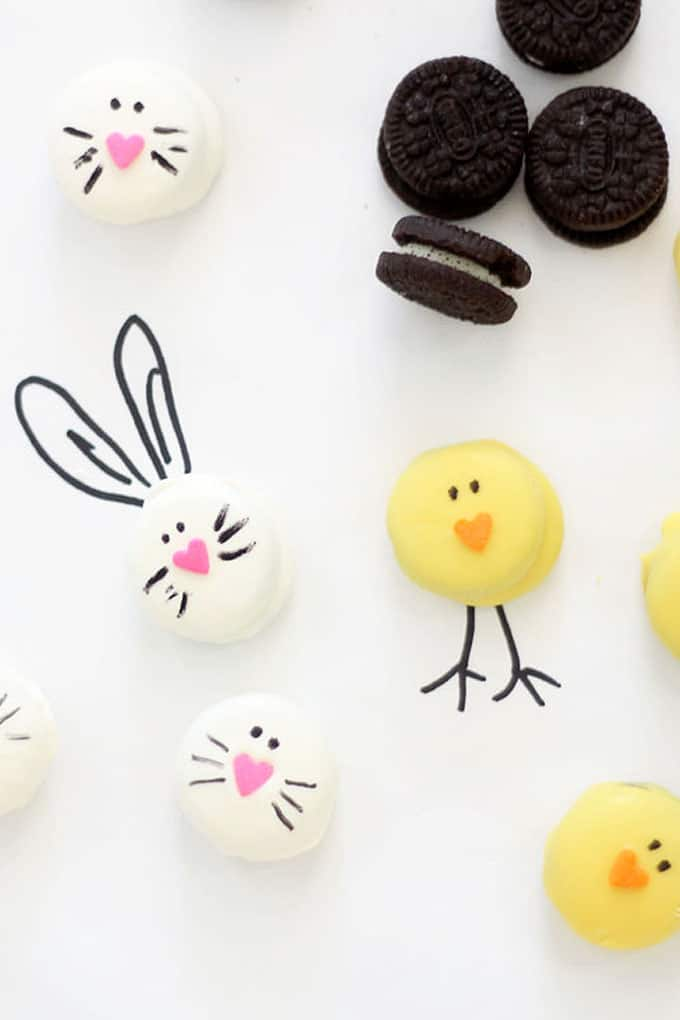 Mini bunny and chick Oreo bites are a perfect Easter treat. Easy to make using mini store-bought Oreo cookies, candy melts, and food coloring pens.