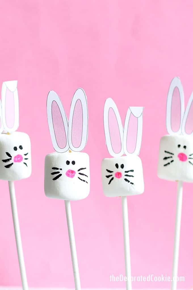 Quick and easy Easter bunny marshmallows with free printable bunny ears. A fun food idea for Easter that kids can make themselves.