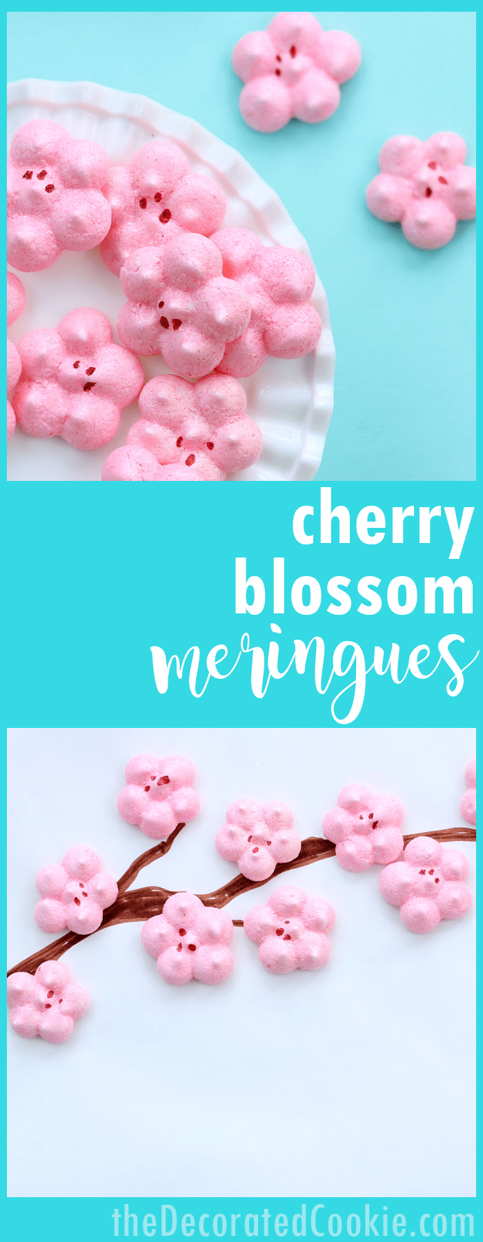 How to make cherry blossom meringues, an easy, beautiful dessert for Spring.
