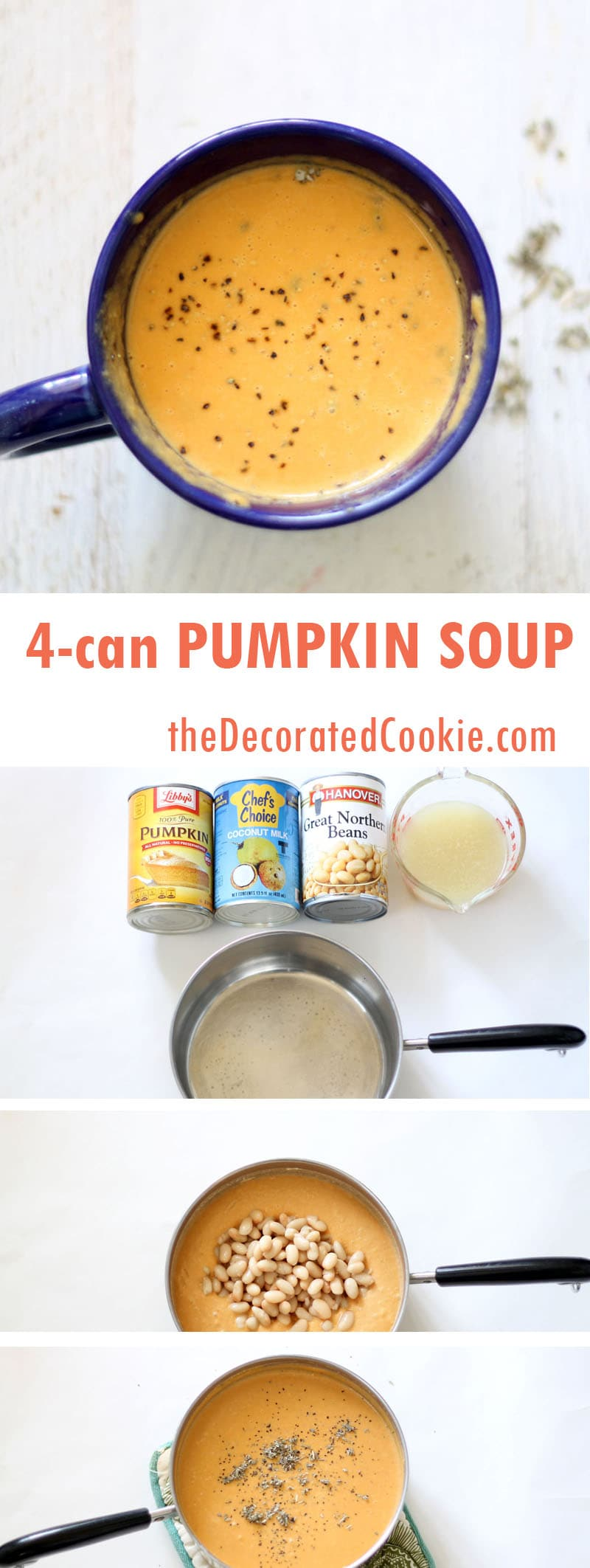 four can pumpkin soup with white beans and sage
