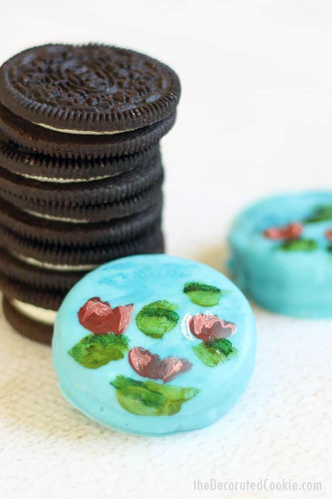 PAINTED OREOS: Artist Claude Monet's water lilies painted with food coloring on chocolate-covered oreos. Video how-tos included.
