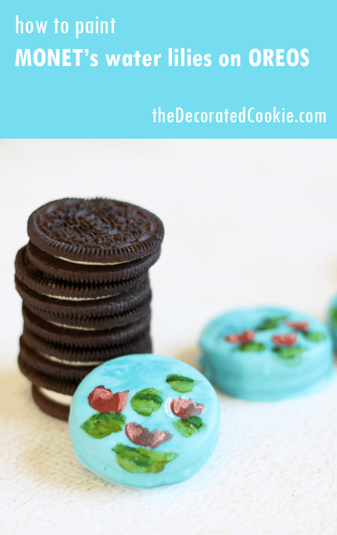 hand-painted Monet's water lilies on Oreos