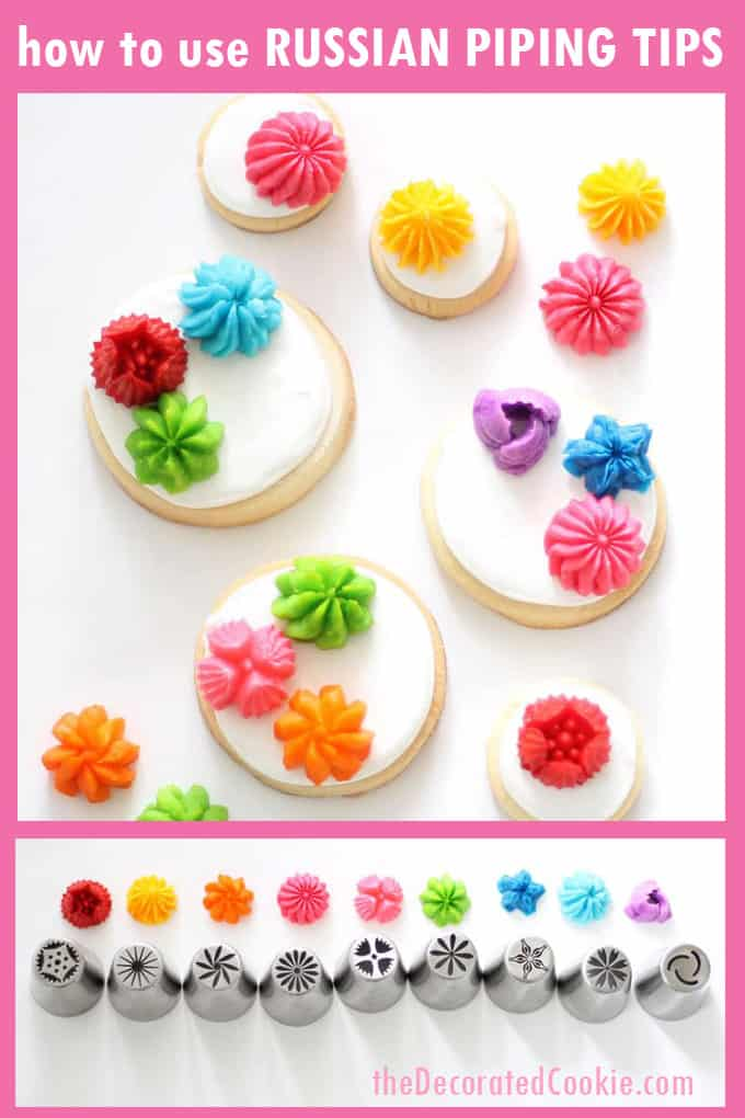How to use the Russian piping tips (the large flower decorating tips) with buttercream frosting to decorate cupcakes or cookies. Video how-tos included. #russianpipingtips #Decoratingtips #CookieDecorating