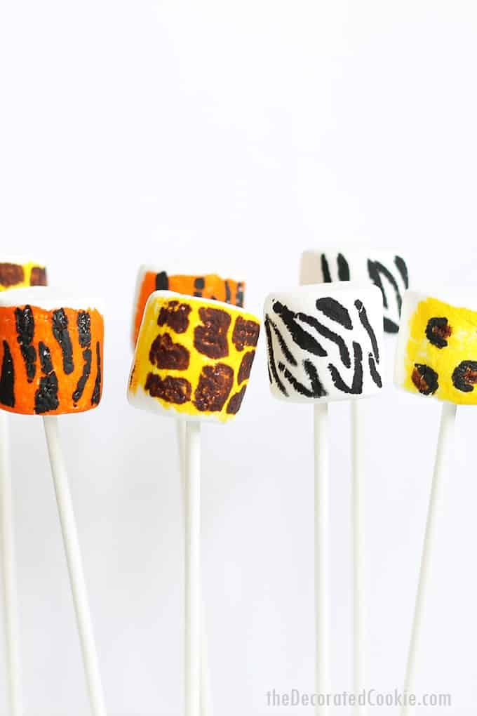 ANIMAL PRINT MARSHMALLOWS -- How to draw animal prints with food coloring pens. Tiger, giraffe, zebra, and leopard animal prints.