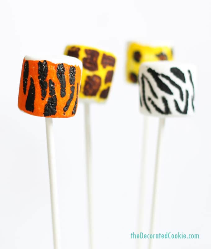 animal print marshmallow pops