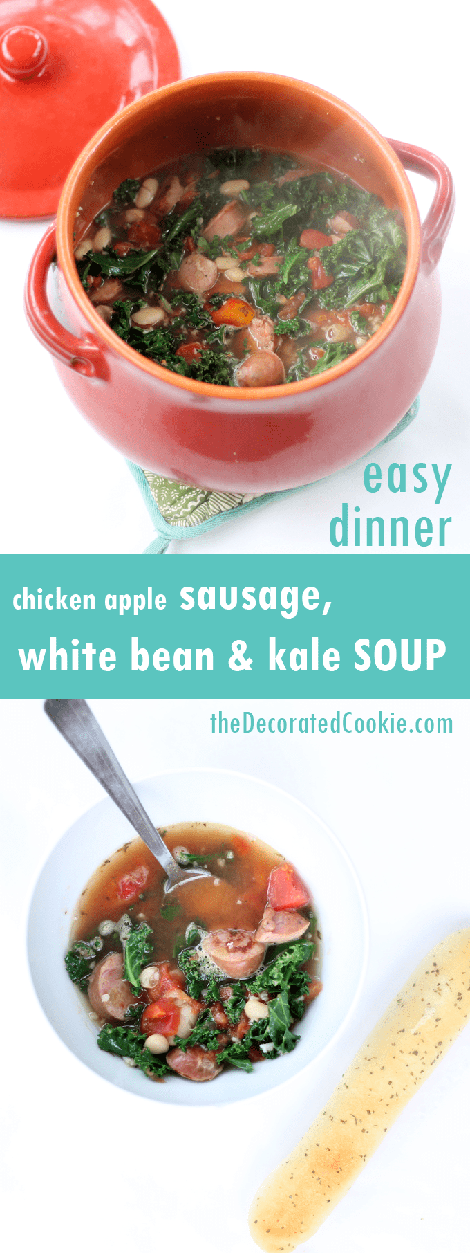 chicken apple sausage, white bean and kale SOUP, easy dinner